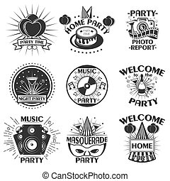 Vector party set of emblems, badges, stickers or banners. Design elements in vintage style. Black icons and logo isolated on white background