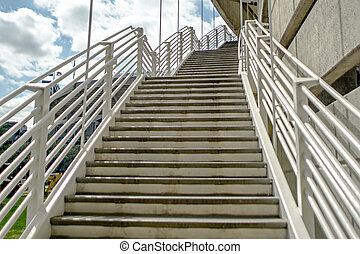 emergency exist stairway from parking deck