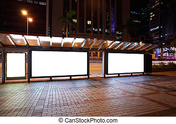 City streetscape backgrounds advertisement lightboxes of...