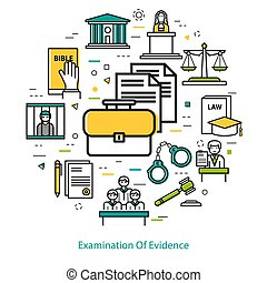 examination of evidence - linear concept - Vector round web...