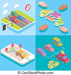 Carpool service concept in isometric style design. Vector flat 3d icons. People sharing cars. Mobile smartphone to share ride and use carpooling HOV lane. Sharing economy and collaborative consumption