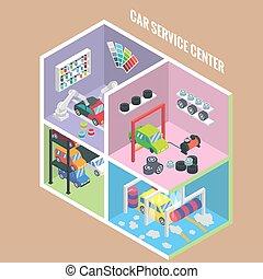Car service center isometric icons. Vector flat 3d design...