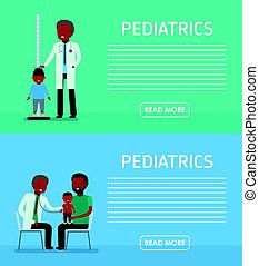 Pediatrics banners. Family on reception at the doctor....