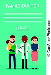 Family doctor. Banner. Caring for the health of the child. The pediatrician and the mother and father with son.