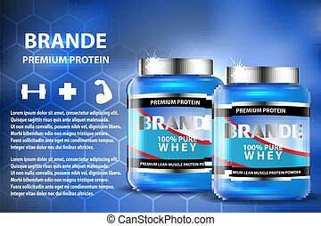 Sport nutrition product containers ad. Weight gainers set. Whey protein bottles. 3D vector product packaging. Jars of bodybuilding food supplements