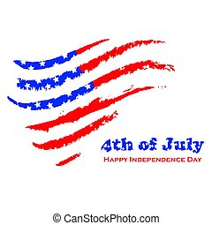 Happy independence day - White background with USA grunge...