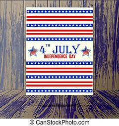 USA independence day poster - Wooden background with USA...