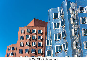 Closeup view of Frank Gehry's famous modern buildings at...
