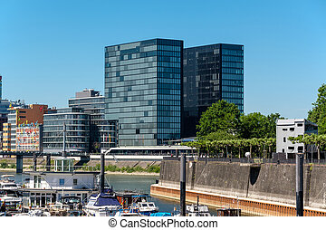 Dusseldorf city cityscape with urban marina in front