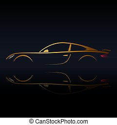 Yellow sports vehicle silhouette on black background with...