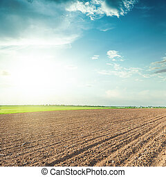 plowed agriculture field and blue sky with clouds in sunset