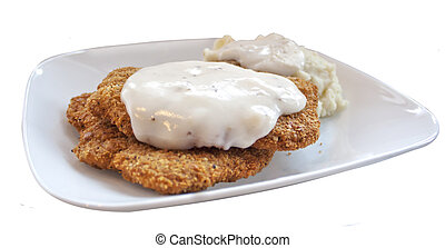 chicken fried steak and gravy - chicken fried steak patties...