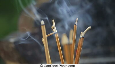 Incense sticks in the temple in Asia