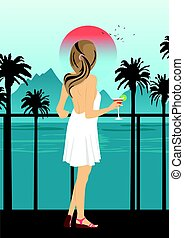 Woman on sea embankment with palm trees at sunset
