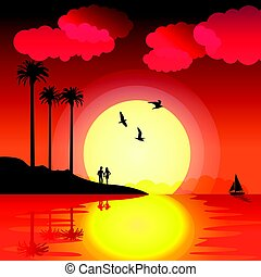 Tropical sunset with palm trees, birds, couple in love, boat and water reflection