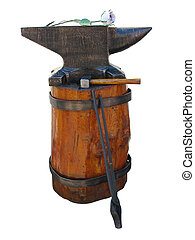 falsificando, mão, ferramentas, -, bigorna, martelo,...