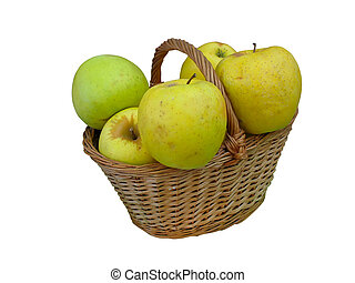 Fresh green apples in wicker basket isolated