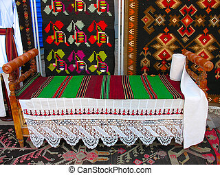 antique wooden handmade bed and carpets