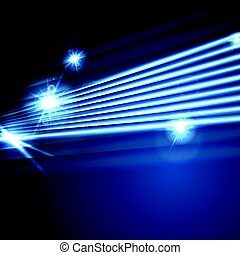 Neon glowing laser beams lines abstract background. Shiny...