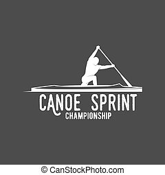 vintage canoeing logo - vintage mountain, rafting, kayaking,...