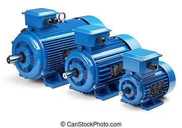 Three industrial electric motors isolated on white...