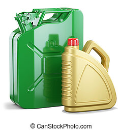 Group of jerry can and plastic motor oil canister isolated...