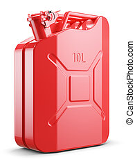 Red metal jerry can isolated on white background 3d
