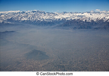 aerial view of Andes and Santiago with smog, Chile