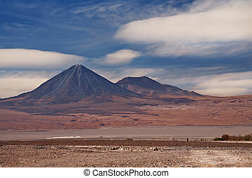 volcanoes Licancabur and Juriques, Atacama desert in Chile, view from San Pedro de Atacama