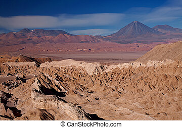 view from Valle de la Muerte (Death Valley) on the volcanoes...