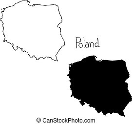 outline and silhouette map of Poland - vector illustration...