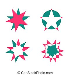 Star shapes set on a white background