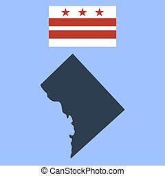 Flag of the District of Columbia and map on a white...