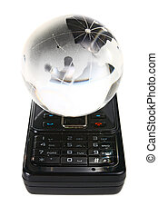 glass globe on a mobile telephone