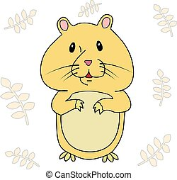 The hamster on the background of the spikelets. Vector...