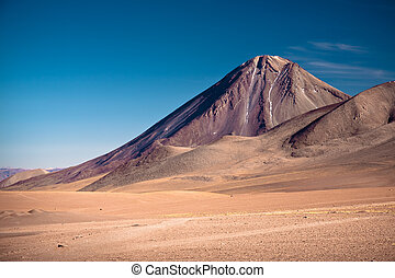 volcanoes Licancabur and Juriques on the border between...