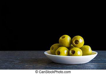 olive, dénoyauté,  olives, huile, vert