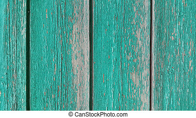 Texture of old wooden green fence