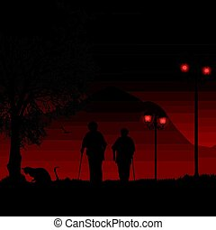 Elderly people on red night taking a walk in a park, vector...