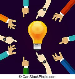 many hands working together for an idea. a bulb lamp shine. concept of teamwork collaboration and participation in business creativity and innovation
