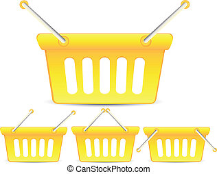 Set of colorful yellow baskets with different position of...