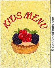 Kids menu cover template. VECTOR illustration. Cupcake on theard background. Yellow color, red