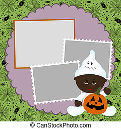 Blank template for Halloween photo frame or postcard