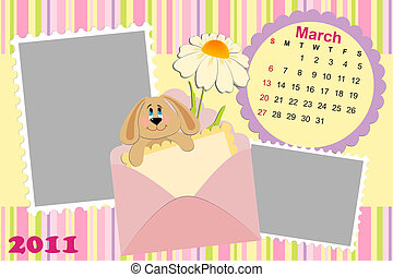 Baby's monthly calendar for march 2011's