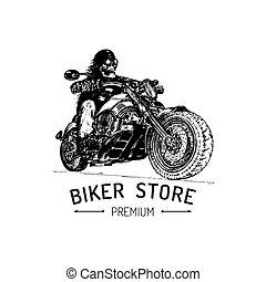 Biker Store advertising poster. Vector hand drawn skeleton...