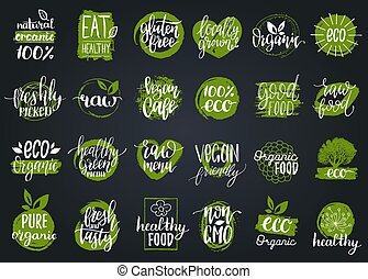 Vector eco, organic, bio signs. Vegan, healthy food illustrations set for cafe, restaurant badges, tags, packaging etc.