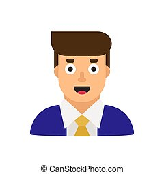 Business man in suit, office worker, manager. Flat design vector illustration.