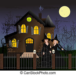 Halloween scene with beautiful witches - Halloween scene...
