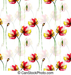 Seamless wallpaper with Gerber flowers, watercolor...