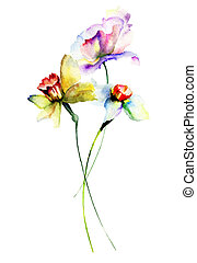 Template for floral card with flowers